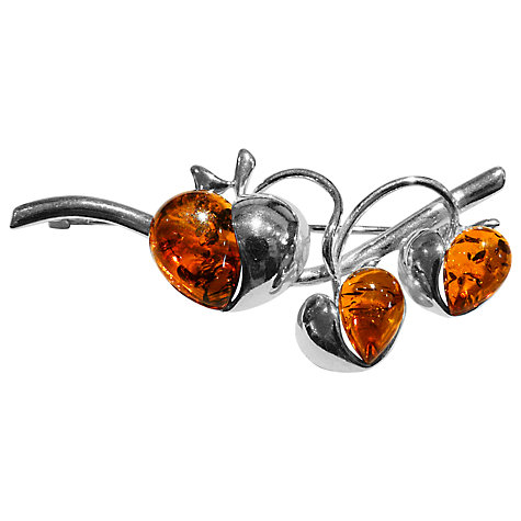 Buy Goldmajor Amber Apple Branch Sterling Silver Brooch, Cognac Online at johnlewis.com
