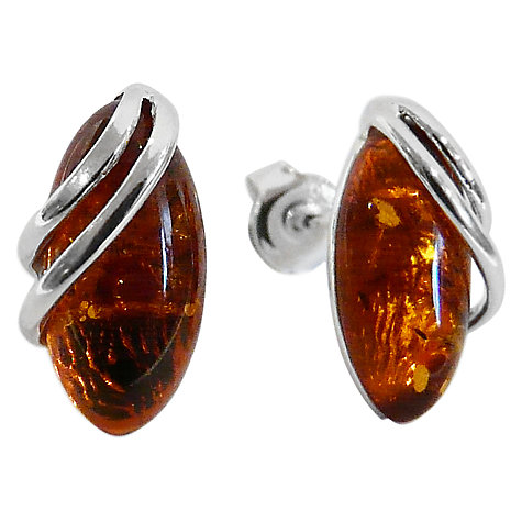 Buy Goldmajor Marquise Amber Sterling Silver Stud Earrings, Cognac Online at johnlewis.com