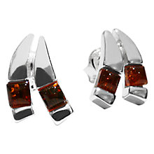 Buy Goldmajor Amber Split Sterling Silver Stud Earrings, Cognac Online at johnlewis.com