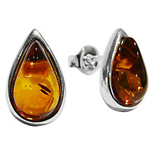 Buy Goldmajor Amber Teardrop Sterling Silver Stud Earrings, Cognac Online at johnlewis.com