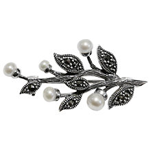 Buy Goldmajor Marcasite Freshwater Pearl Leaf Brooch Online at johnlewis.com