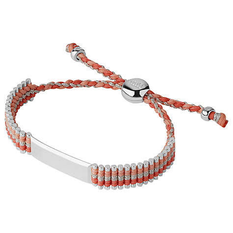 Buy Links of London Adjustable Cord Friendship Bracelet, Coral Online at johnlewis.com