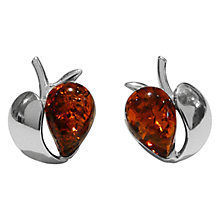 Buy Goldmajor Amber Apple Silver Stud Earrings, Cognac Online at johnlewis.com