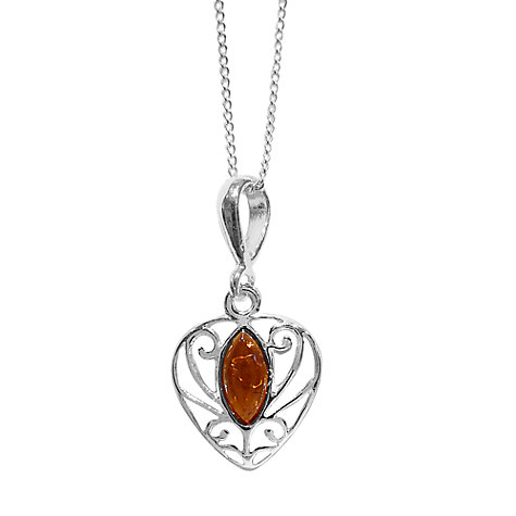 Buy Goldmajor Amber Filigree Sterling Silver Pendant, Cognac Online at johnlewis.com