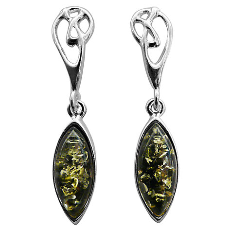 Buy Goldmajor Amber Sterling Silver Celtic Knot Drop Earrings, Green Online at johnlewis.com