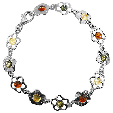 Buy Goldmajor Amber Flower Sterling Silver Bracelet, Multi Online at johnlewis.com