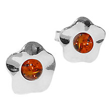 Buy Goldmajor Amber Flower Sterling Silver Stud Earrings, Orange Online at johnlewis.com