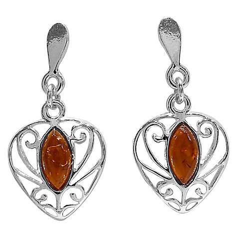 Buy Goldmajor Amber Filigree Sterling Silver Drop Earrings, Cognac Online at johnlewis.com