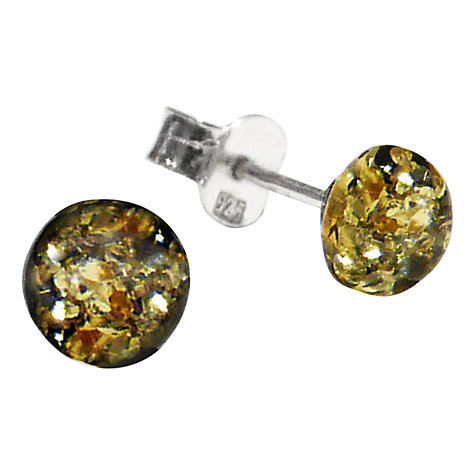 Buy Goldmajor Amber Round Stud Sterling Silver Earrings, Green Online at johnlewis.com