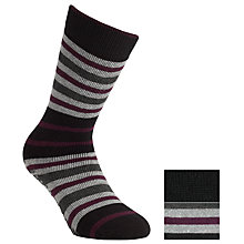 Buy Totes Toasties Stripe Slipper Socks, Pack of 2, Black/Purple Online at johnlewis.com