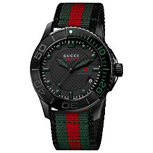 Buy Gucci YA126229 Men's G-Timeless Fabric Strap Sports Watch, Black Online at johnlewis.com