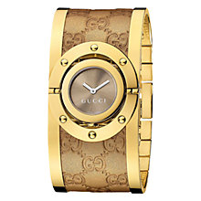 Buy Gucci YA112434 Women's Leather Bangle Cuff Watch, Gold / Brown Online at johnlewis.com