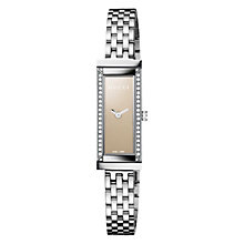 Buy Gucci YA127508 Women's G-Frame Diamond Set Rectangular Watch, Silver / Brown Online at johnlewis.com