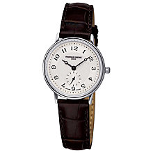 Buy Frederique Constant FC-235AS1S6 Women's Classics Slim Line Watch, Silver / Brown Online at johnlewis.com
