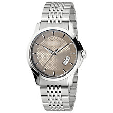 Buy Gucci YA126310 G-Timeless Men's Web Dial Slim Watch, Brown / Silver Online at johnlewis.com
