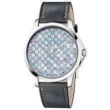 Buy Gucci YA126307 G-Timeless Men's Mother of Pearl Diamond Watch, Black / Blue Online at johnlewis.com
