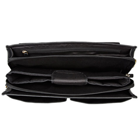 Buy John Lewis Strasbourg Leather Laptop Briefcase, Black Online at johnlewis.com