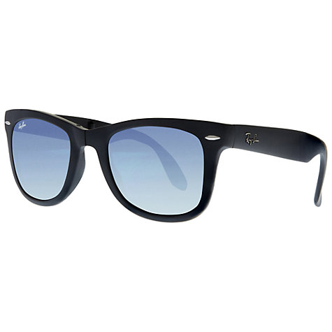 Buy Ray-Ban RB4105 710/51Folding Wayfarer Sunglasses, Black Online at johnlewis.com