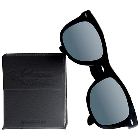 Buy Ray-Ban RB4105 710/51 Folding Wayfarer Sunglasses, Black Online at johnlewis.com
