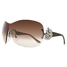 Buy Bvlgari BV6064B 102/13 Oversized Frameless Wraparound Sunglasses, Brown Online at johnlewis.com