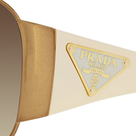 Buy Prada PR57lS Wraparound Sunglasses, Gold/Ivory Online at johnlewis.com