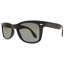 Buy Ray-Ban RB4105 Folding Wayfarer Sunglasses, Black Online at johnlewis.com