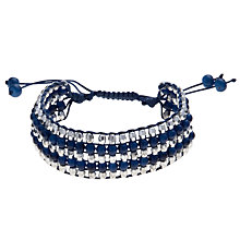 Buy John Lewis Cord and Beads Friendship Bracelet, Blue / Silver Online at johnlewis.com