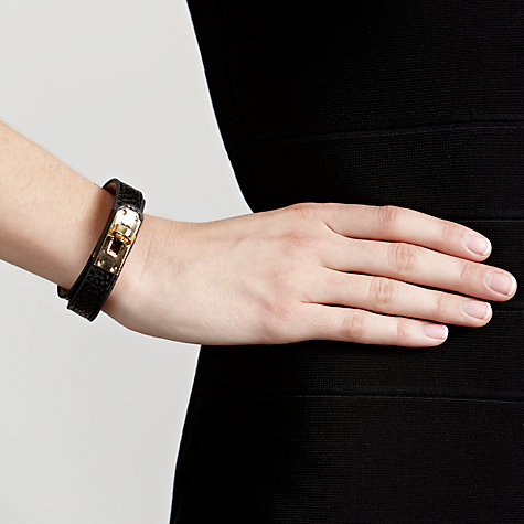 Buy John Lewis Gold-Plated Buckle Wrap Bracelet, Gold / Black Online at johnlewis.com