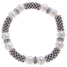 Buy John Lewis Faux Pearl and Rhodium Ball Stretch Bracelet Online at johnlewis.com