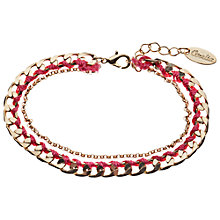 Buy Orelia Dainty Flat Curb Wrapped Bracelet, Fuchsia Online at johnlewis.com