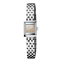 Buy Gucci YA128508 G-Frame Women's Diamond Bezel Bracelet Strap Watch, Bronze / Silver Online at johnlewis.com