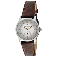 Buy Dreyfuss & Co DGS00001/22 Men's Stainless Steel Leather Strap Watch, Silver / Brown Online at johnlewis.com