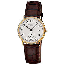 Buy Frédérique Constant FC-245AS4S5 Men's Slim-Line Leather Strap Watch, Gold Online at johnlewis.com