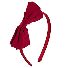 Buy John Lewis Girl Petersham Bow Alice Band, Red Online at johnlewis.com
