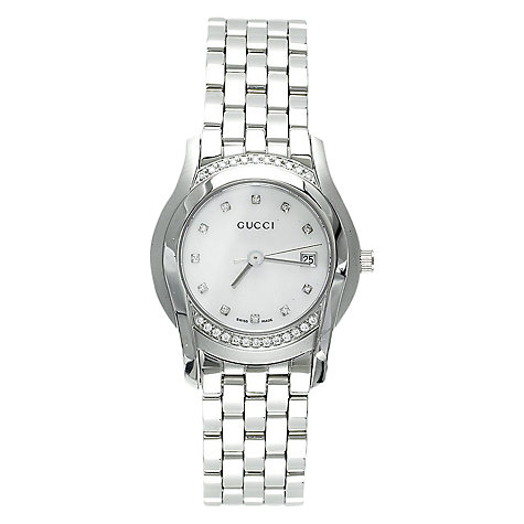 Buy Gucci YA055510 Women's Mother of Pearl Diamond Dial Watch, Silver Online at johnlewis.com