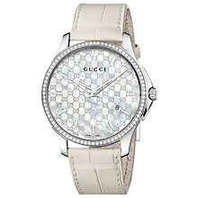 Buy Gucci YA126306 G-Timeless Men's Mother of Pearl Diamond Watch, White Online at johnlewis.com