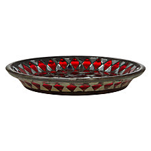 Buy John Lewis Mosaic Mirror Candle Plate, Red Online at johnlewis.com