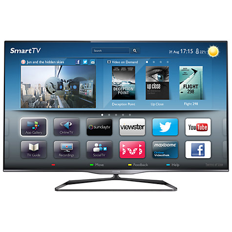 "Buy Philips 50PFL5008T LED 1080p 3D Smart TV, 50"" with Ambilight, Freeview HD and 2x 3D Glasses Online at johnlewis.com"