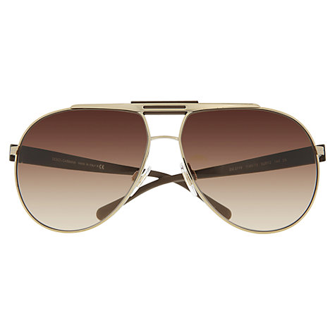 Buy Dolce & Gabbana DG2119 Aviator Sunglasses, Gold Online at johnlewis.com