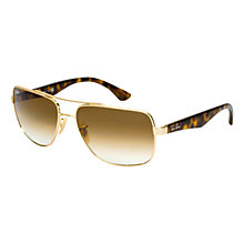 Buy Ray-Ban RB3483 001/51 Rectangular Aviator Sunglasses, Gold Online at johnlewis.com