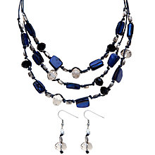 Buy John Lewis Bead and Crystal Necklace and Earrings Set, Blue Online at johnlewis.com