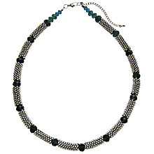 Buy John Lewis Rhodium Plated Beads Glass Necklace, Silver / Black Online at johnlewis.com
