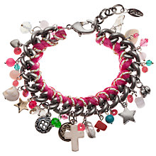 Buy Orelia Chunky Charm Statement Bracelet, Pink Online at johnlewis.com