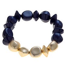 Buy John Lewis Irregular Bead Stretch-Fit Bracelet, Navy / Gold Online at johnlewis.com