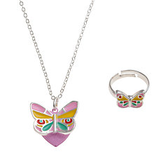 Buy John Lewis Girl Enamel Butterfly Locket and Ring, Multi Online at johnlewis.com