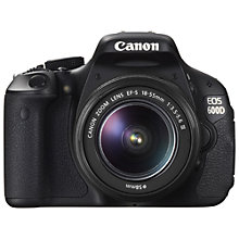"Buy Canon EOS 600D Digital SLR Camera with 18-55mm Non IS Lens, HD 1080p, 18MP, 3"" Screen with 16GB + 8GB Memory Card Online at johnlewis.com"