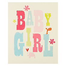 Buy Art File Baby Girl New Baby Card Online at johnlewis.com