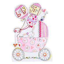 Buy Rachel Ellen Pram and Balloons New Baby Girl Greeting Card Online at johnlewis.com