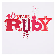 Buy Card Mix 40 Years Ruby Anniversary Card Online at johnlewis.com