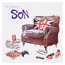 Buy Card Mix Son Chilling in Chair Birthday Card Online at johnlewis.com